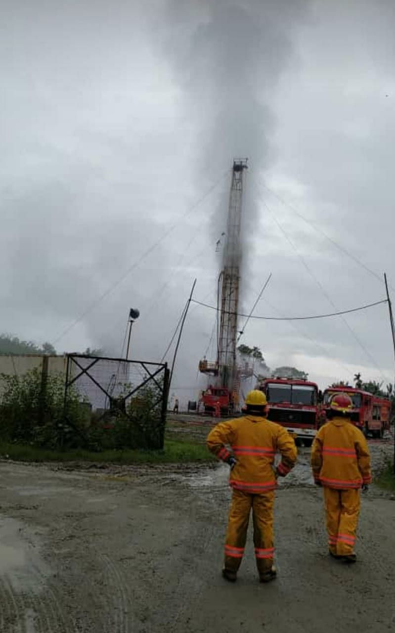 Gas well blowout site at OIL's Baghjan oilfield in Tinsukia district