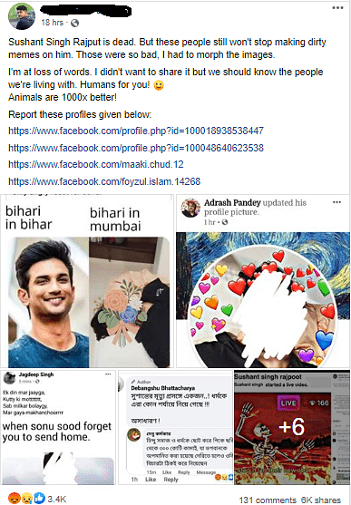 Some of the memes and posts with regards to the actor's death
