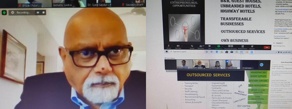 Noted travel and hospitality writer Dr Sudhir Andrews speaking during the virtual seminar