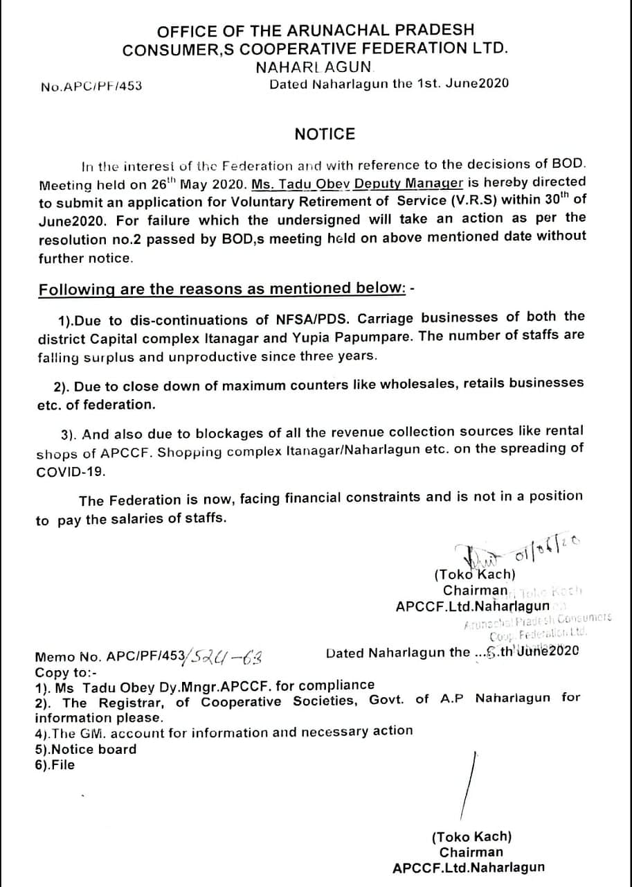 The notice by the federation to Tadu Obey for VRS