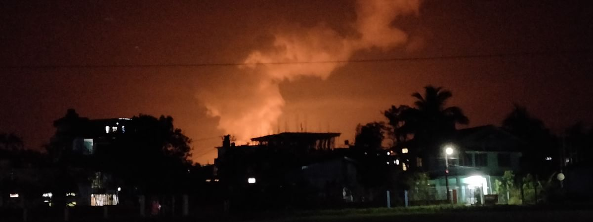 The lit-up sky seen from Tinsukia on Tuesday evening