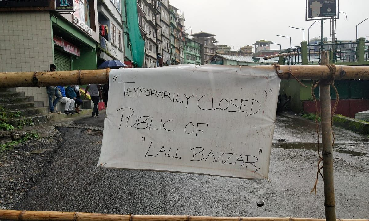 Bamboo poles have been used to seal the road connecting Lal Bazaar and the Fly Over