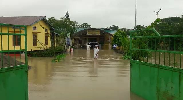 Flood waters have completed inundated the sub divisional civil hospital at Bajali in Barpeta district
