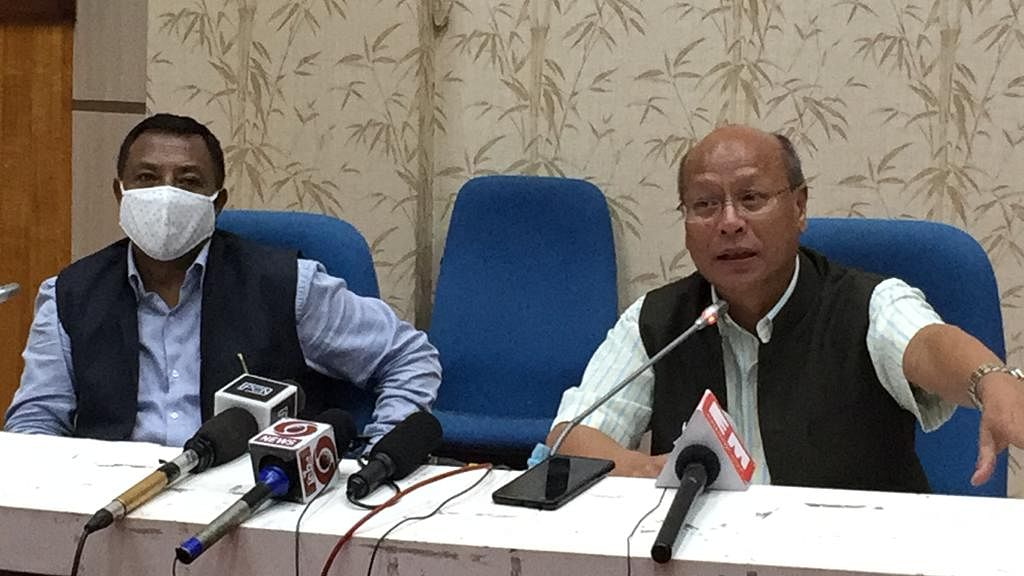 Meghalaya deputy chief minister Prestone Tynsong during a press conference on Tuesday