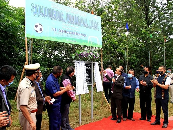 Mizoram CM lays foundation stone for synthetic football turf