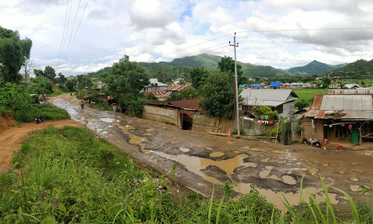 A scene of road condition along Chandel-Pallel road in Manipur