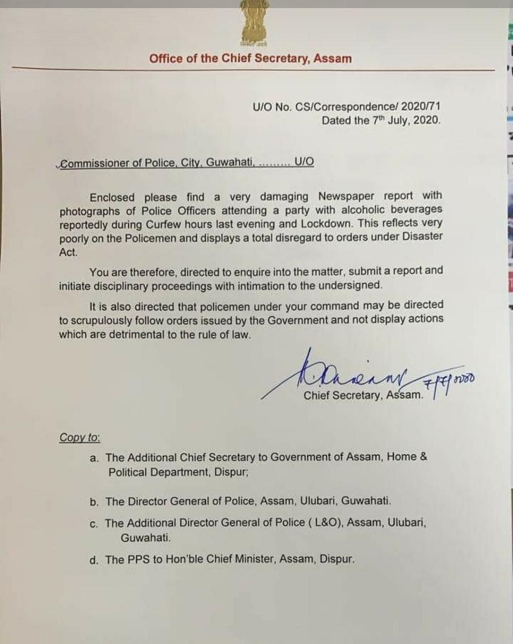 Assam chief secretary asked Commissioner of Police, Guwahati to inquire into the incident on July 7