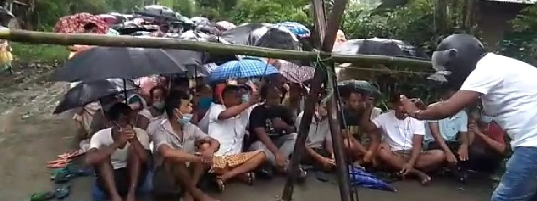 Protestors blocking the road to Baghjan blowout well in Assam's Tinsukia district