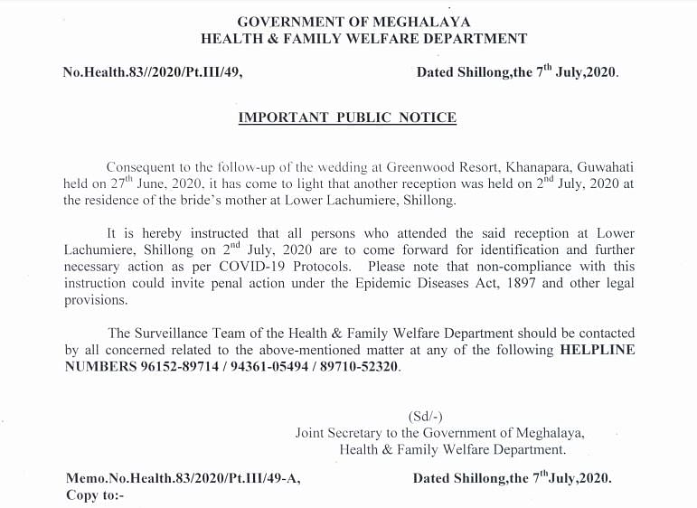 Public Notice issued by Meghalaya government
