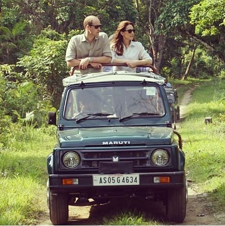 Prince William and Kate Middleton, the Duke and Duchess of Cambridge, during their visit to Kaziranga National Park
