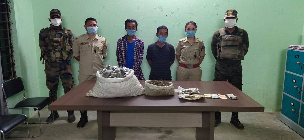 The recovered items along with the apprehended persons in police custody