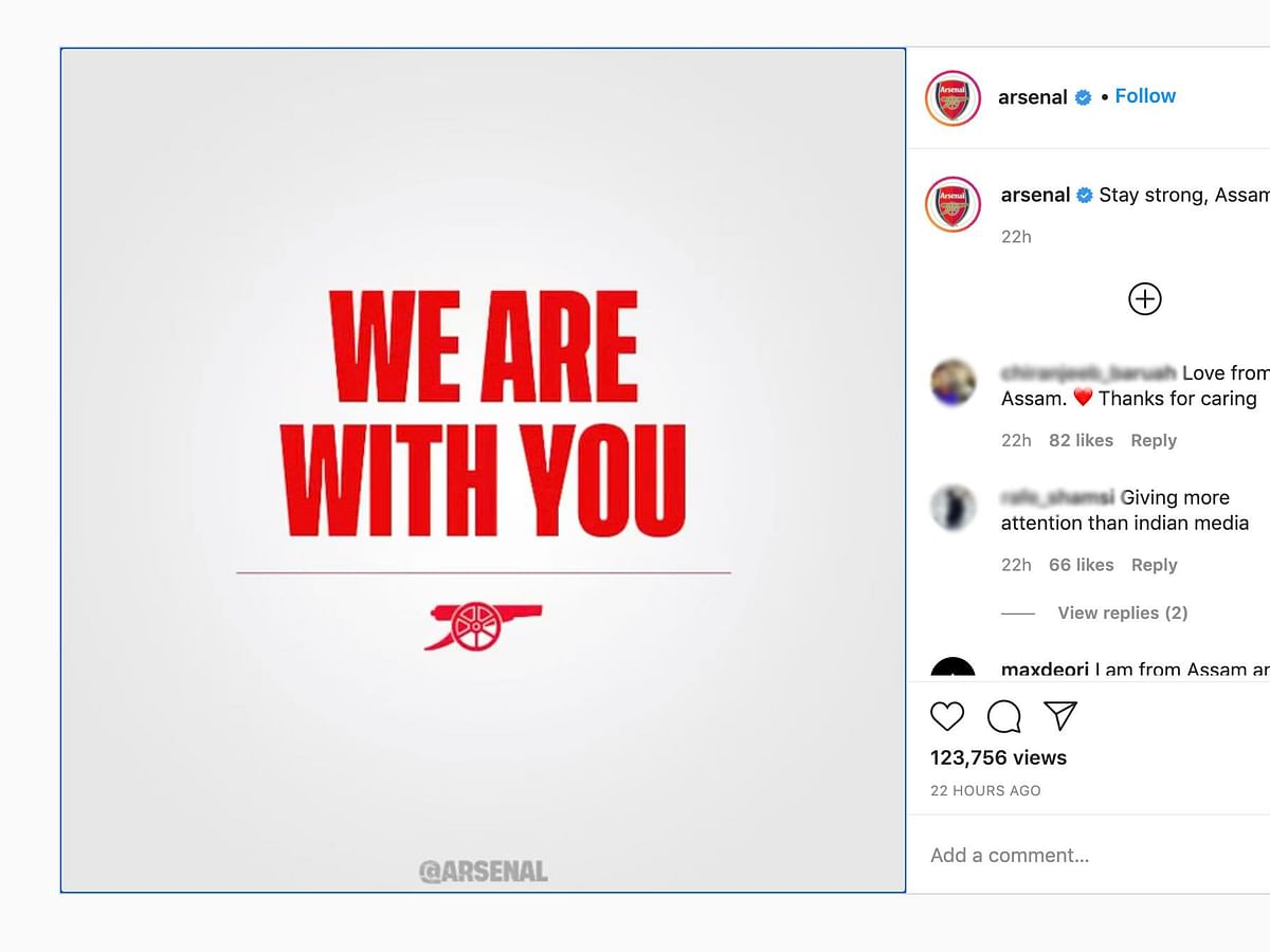 Assam floods: Arsenal FC shows solidarity, says 'We are with you'