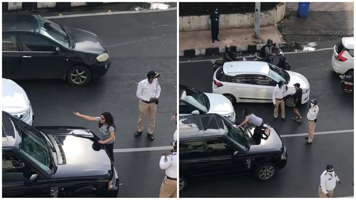 WATCH: Mumbai couple fights on busy road, causes traffic jam