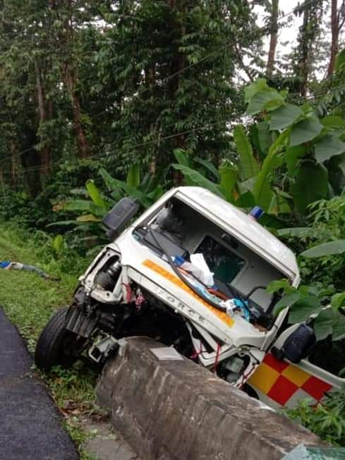 The Chowkham-bound ambulance met with an accident near the Tengapani reserve forest area at Namsai