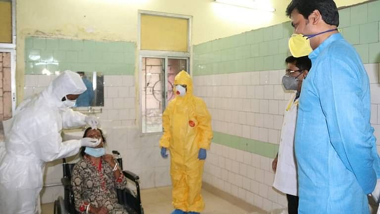 A mock drill being performed in GBP COVID-19 hospital in presence of chief minister Biplab Kumar Deb on April 2