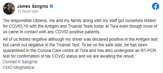 James Sangma clarifies on family tested for Covid-19