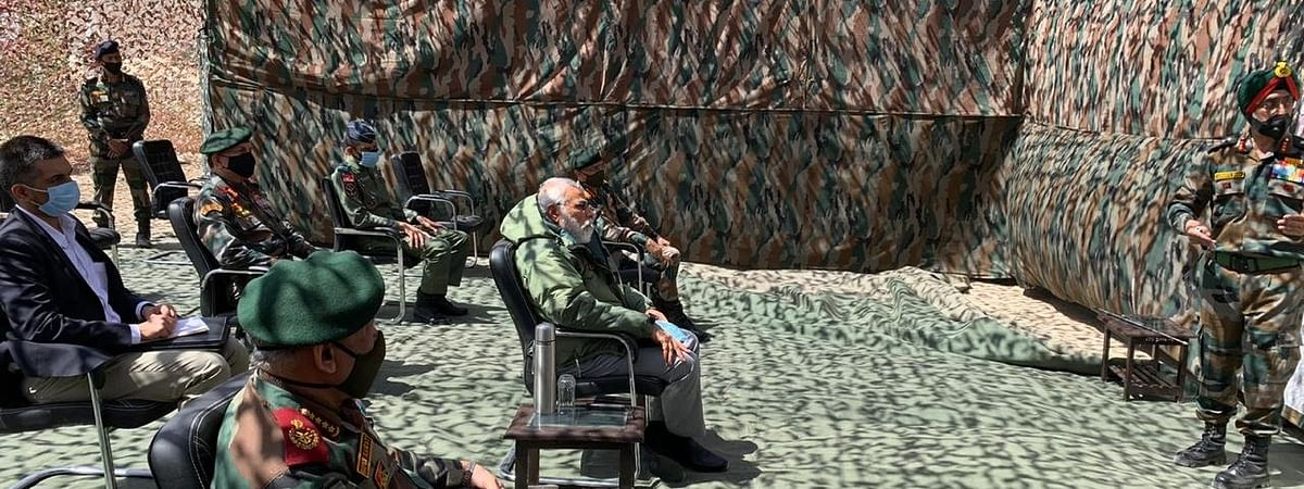 PM Narendra Modi interacting with the troops in Ladakh on Friday morning