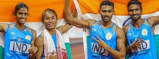 The Indian mixed relay team comprised of Mohammed Anas, Rajiv Arokia, Hima Das and MR Poovamma
