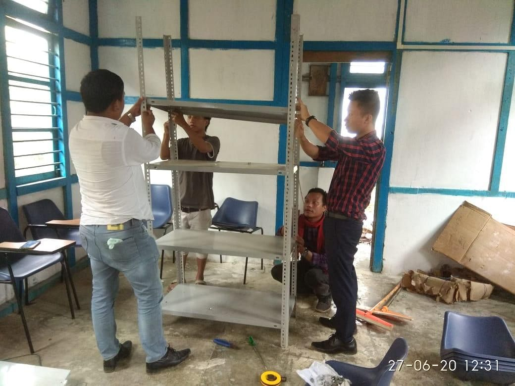 Local youths of Longding can be seen busy with the renovation work.