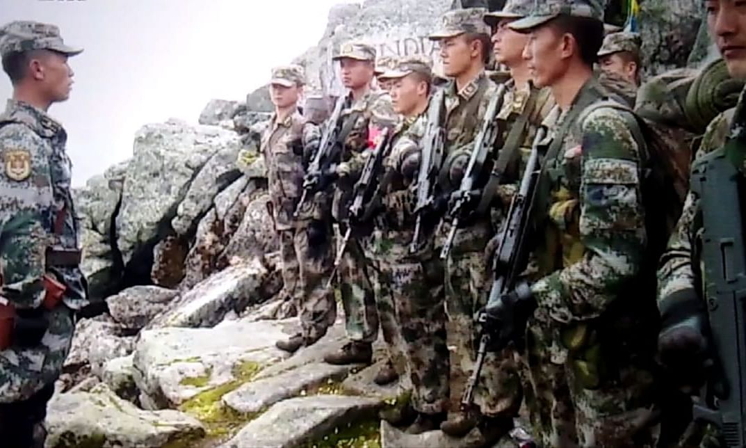 Chinese PLA at Indo-Sino border during a routine patrol last year