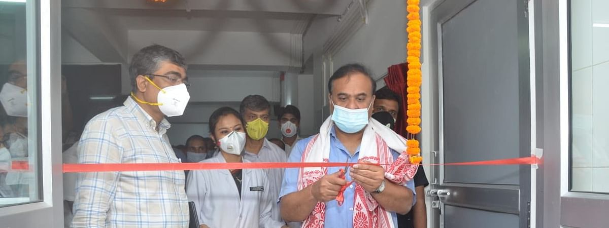 Health minister Dr Himanta Biswa Sarma inaugurating the new lab at State Cancer Institute of Gauhati Medical College