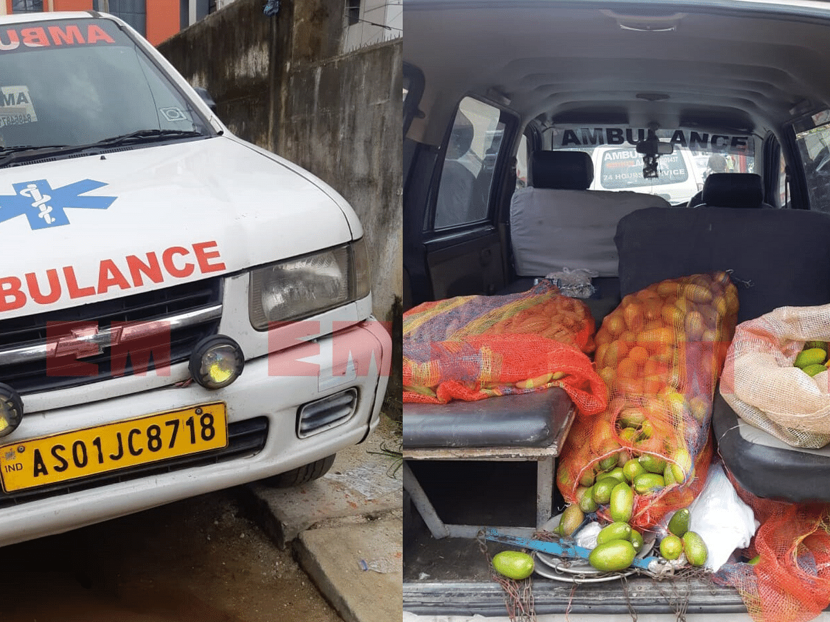 Ambulance caught selling vegetables, chicken & fish in Guwahati