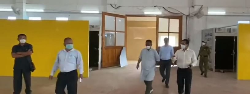 Minister L Jayantakumar Singh inspected the upcoming 300-bedded COVID-19 Care Center on Tuesday