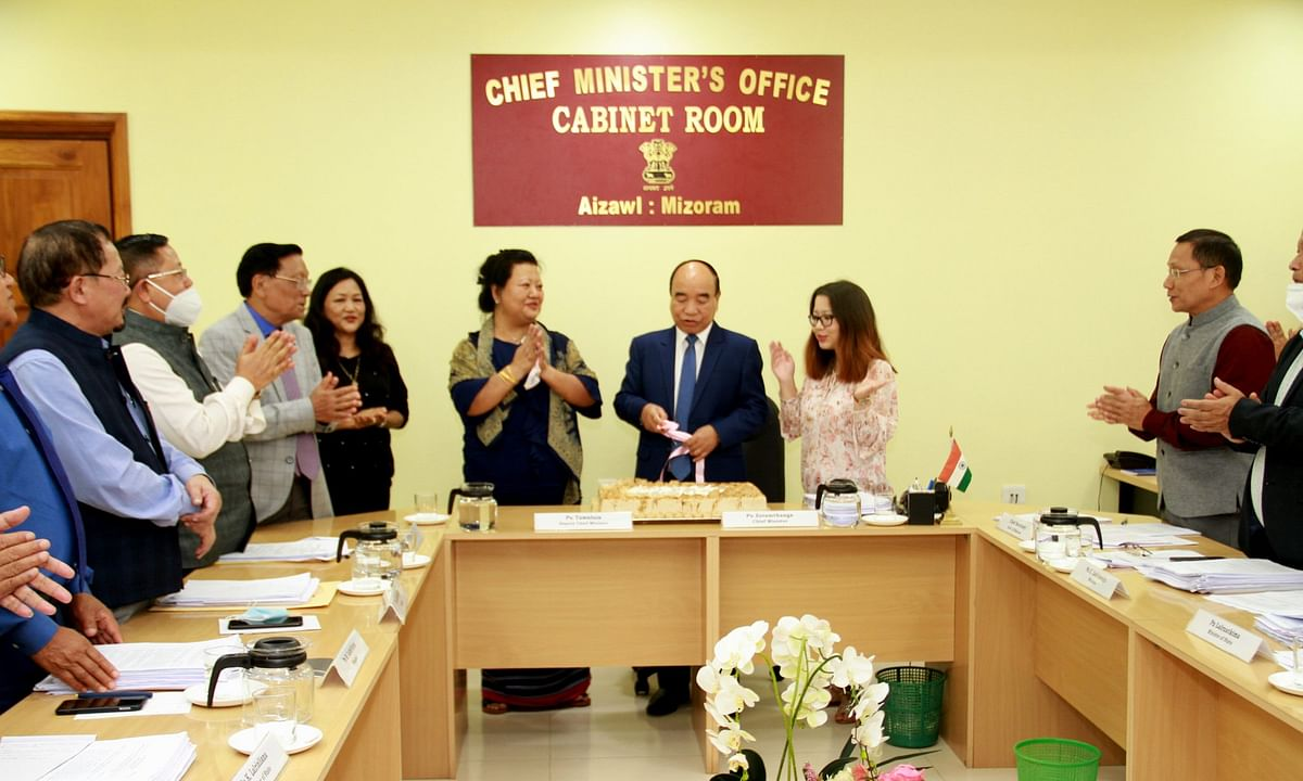 Mizoram CM Zoramthanga celebrated his birthday with his ministerial colleagues on Monday