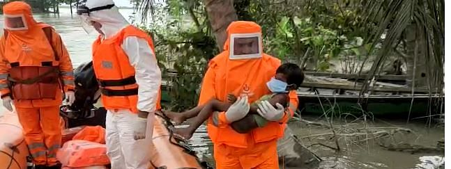 NDRF personnel carrying out rescue operations across the state