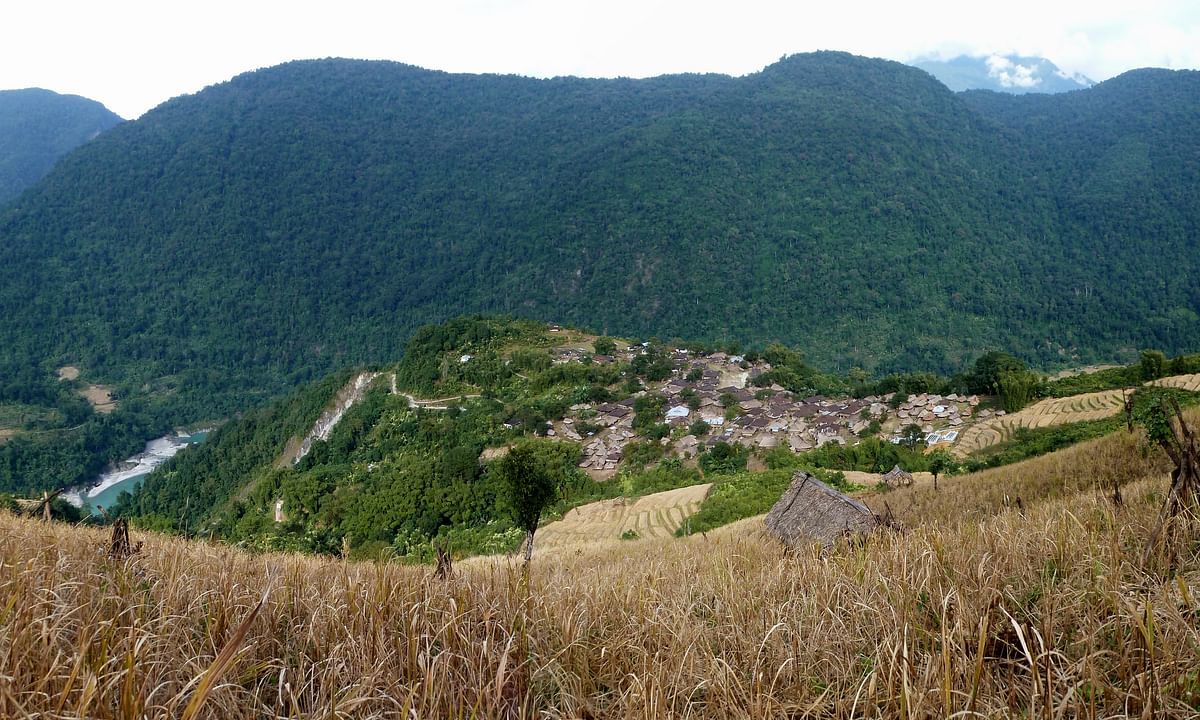 Bomdo village from above with jhum field terrace plots and Siang river below