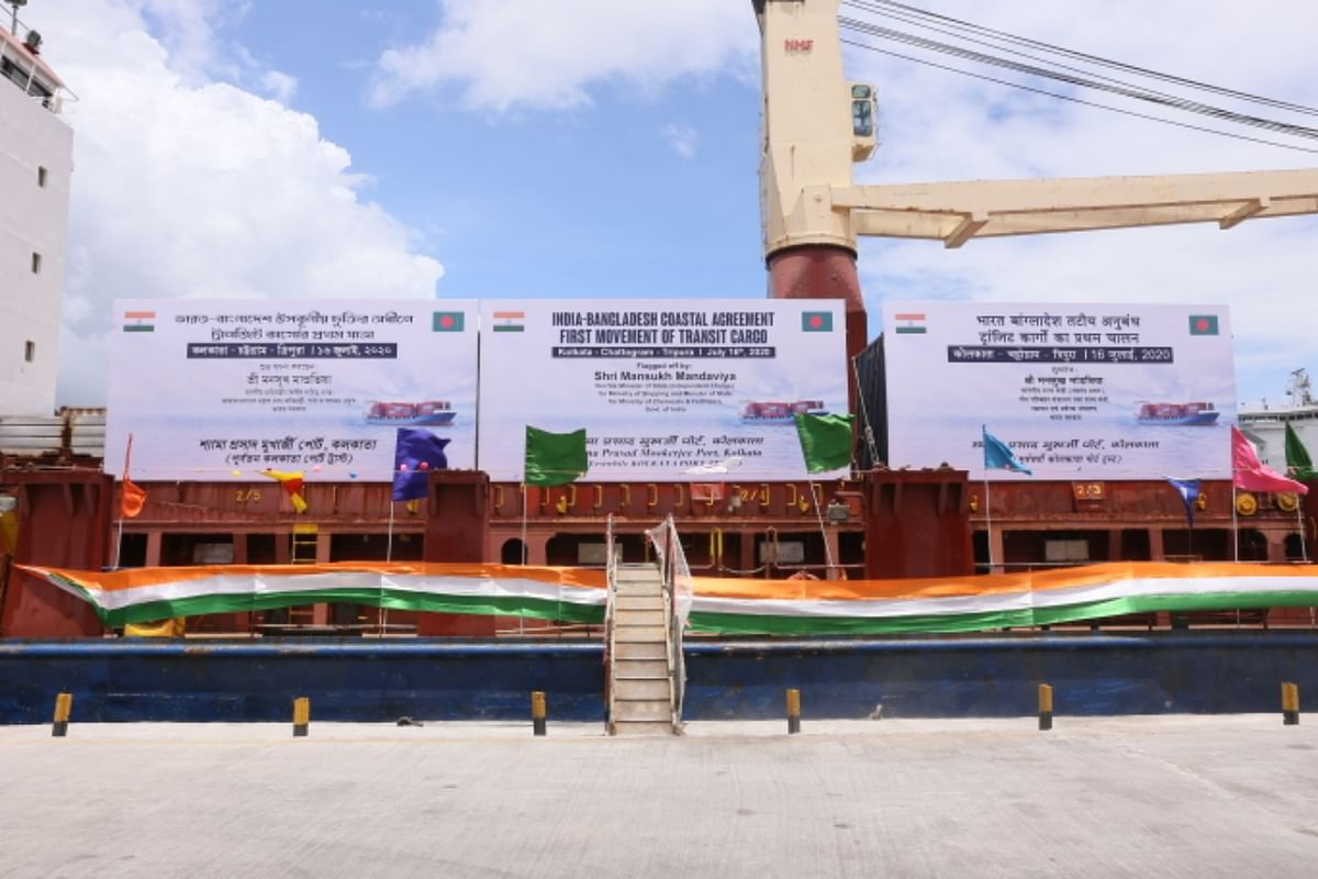 Chief minister Biplab Kumar Deb receiving the first trial cargo container in Agartala-Akhaura on Thursday