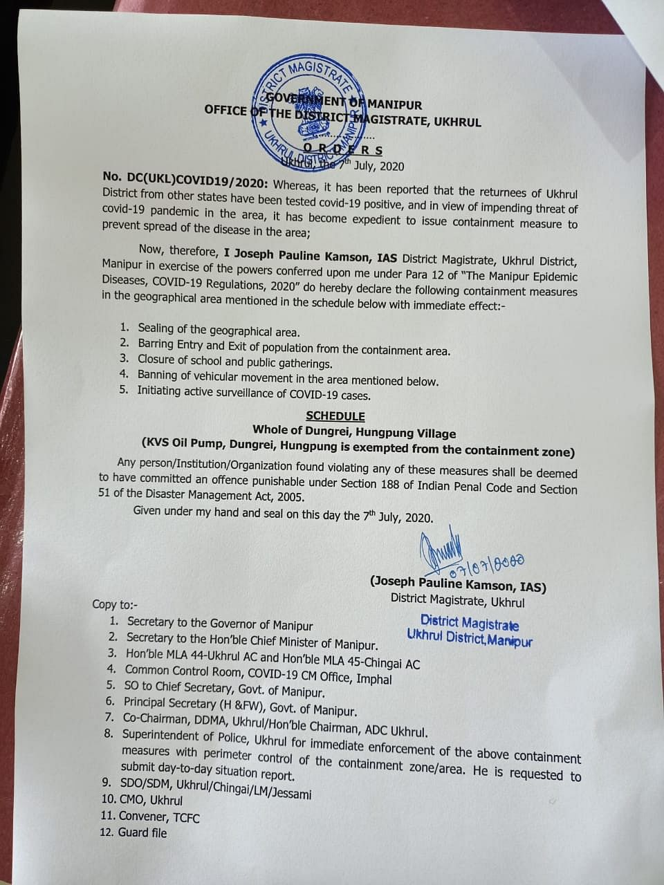 Containment measure notification issued by Ukhrul DC