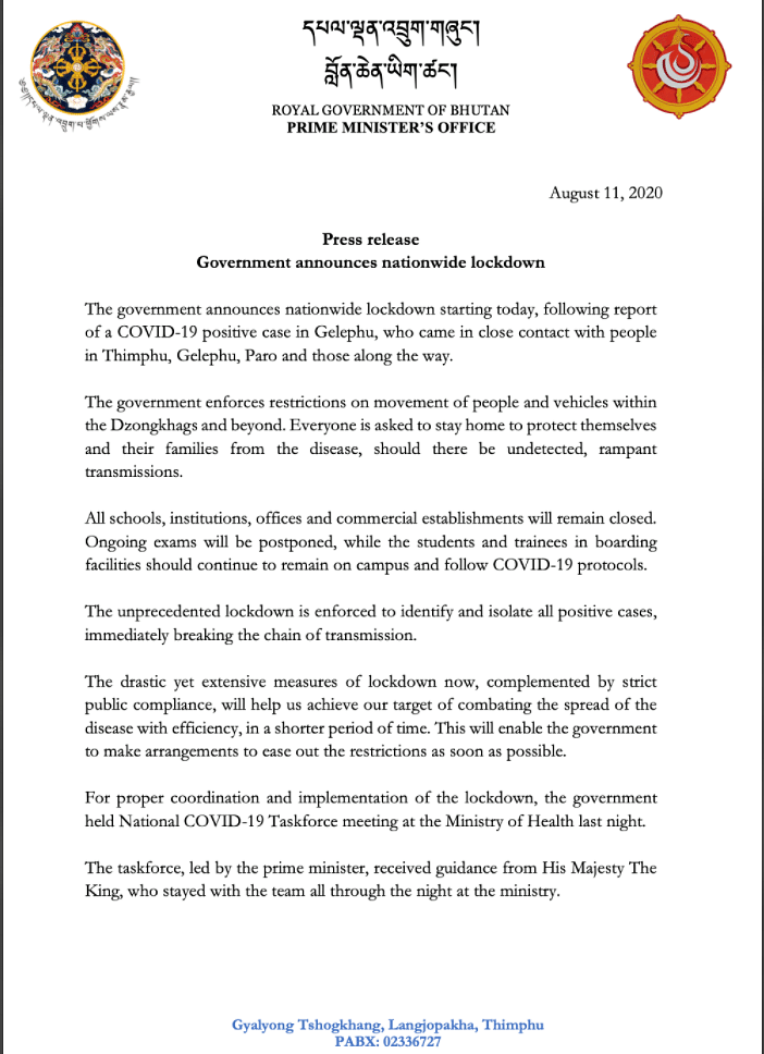 Statement by the Royan Government of Bhutan