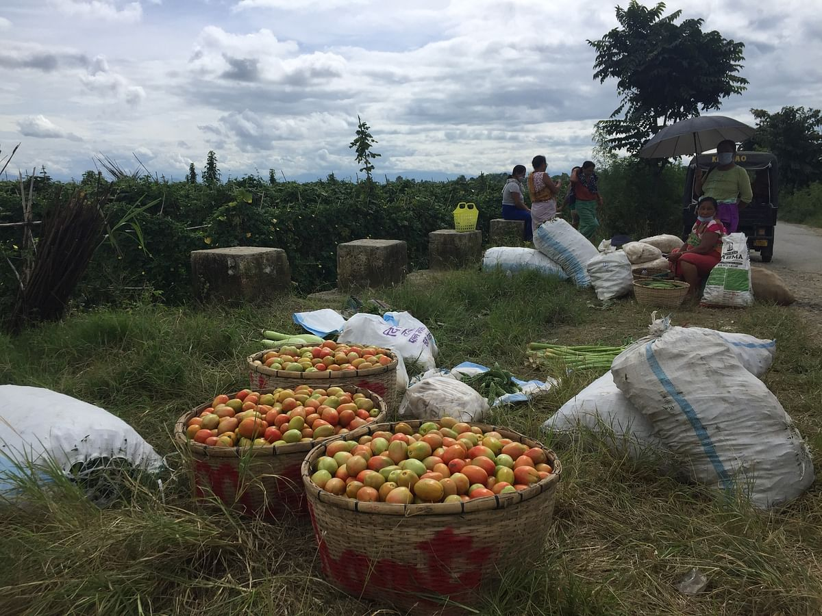 Harvested vegetables waiting for buyers in Bishnupur district