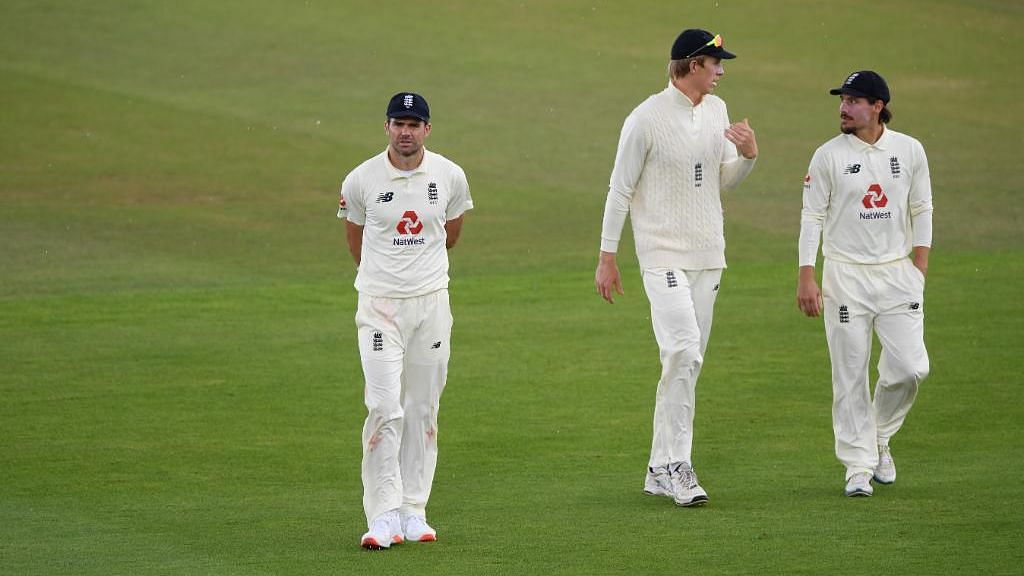 James Anderson celebrates after picking up his 600th international Test wicket (the most by any seamer), at the Ageas Bowl on Tuesday