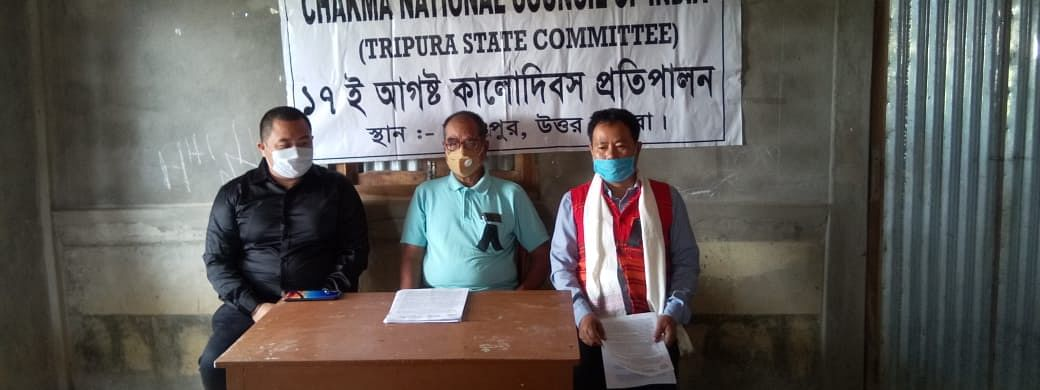 The leaders of Chakma National Council of India at a press conference in Kanchanpur on Monday