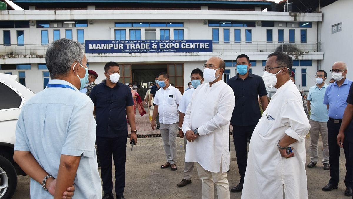 CM N Biren Singh inspected the work progress of 300-bedded COVID-19 Care Center in Imphal on Saturday