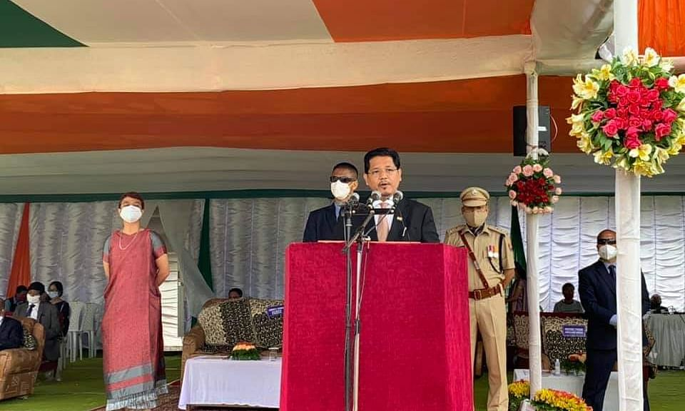 Meghalaya CM addressing on the occasion of 74th Independence Day at 2nd Polo Ground in Shillong