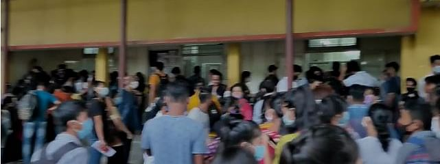 Students in large numbers gathered on the Guwahati College premises on Tuesday