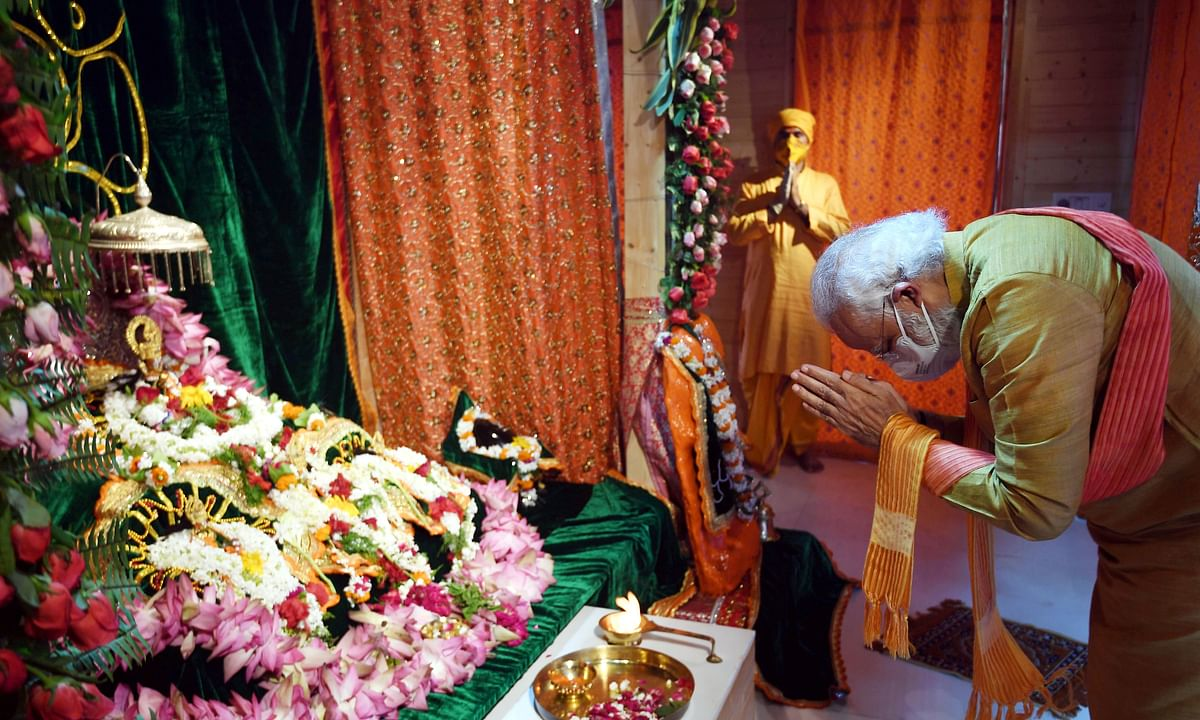 PM Narendra Modi at the proposed Ram Temple site in Ayodhya