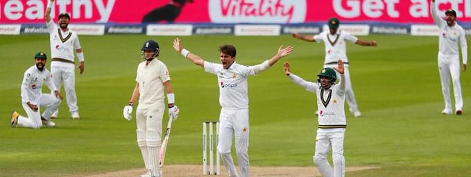 The Pakistani players celebrate an early wicket against England at Old Trafford