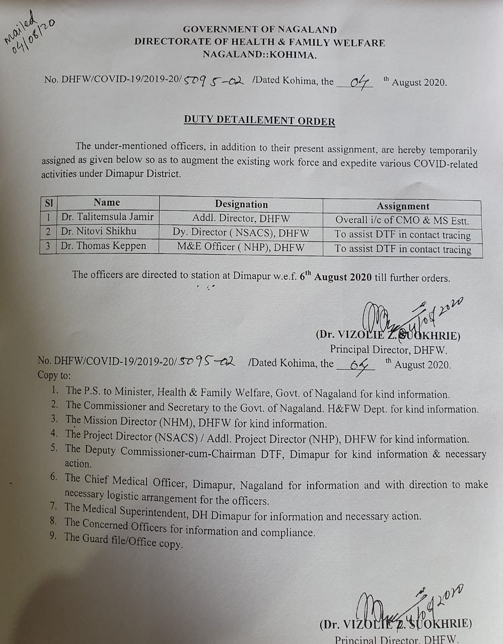 The duty detailment order that was issued by the Nagaland department of heath and family welfare on August 4