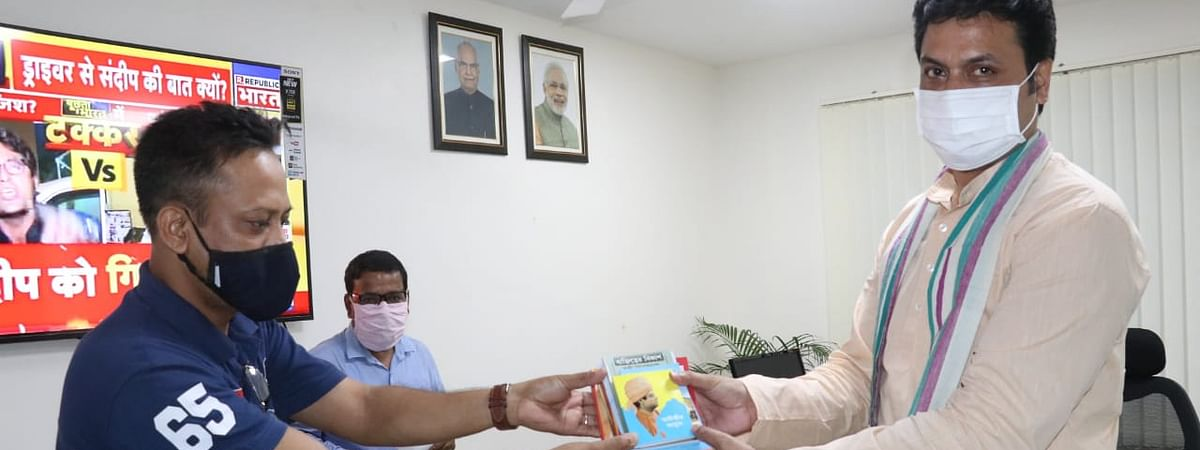 Tripura chief minister Biplab Kumar Deb handed over books on Swami Vivekananda to medical superintendents on Tuesday