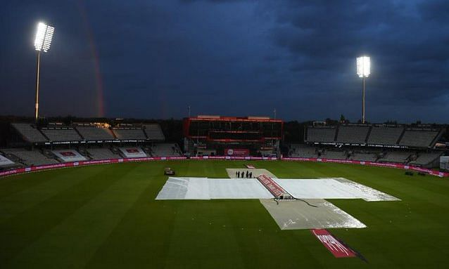 The outfield became extremely wet after rains at Emirates Old Trafford, forcing the 1st T20I between England and Pakistan to be called off on Friday