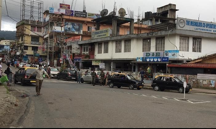Shops in Laitumkhrah (from Police Point to Mohanson's Dry Cleaners) were closed down after locals were seen violating social distancing norms