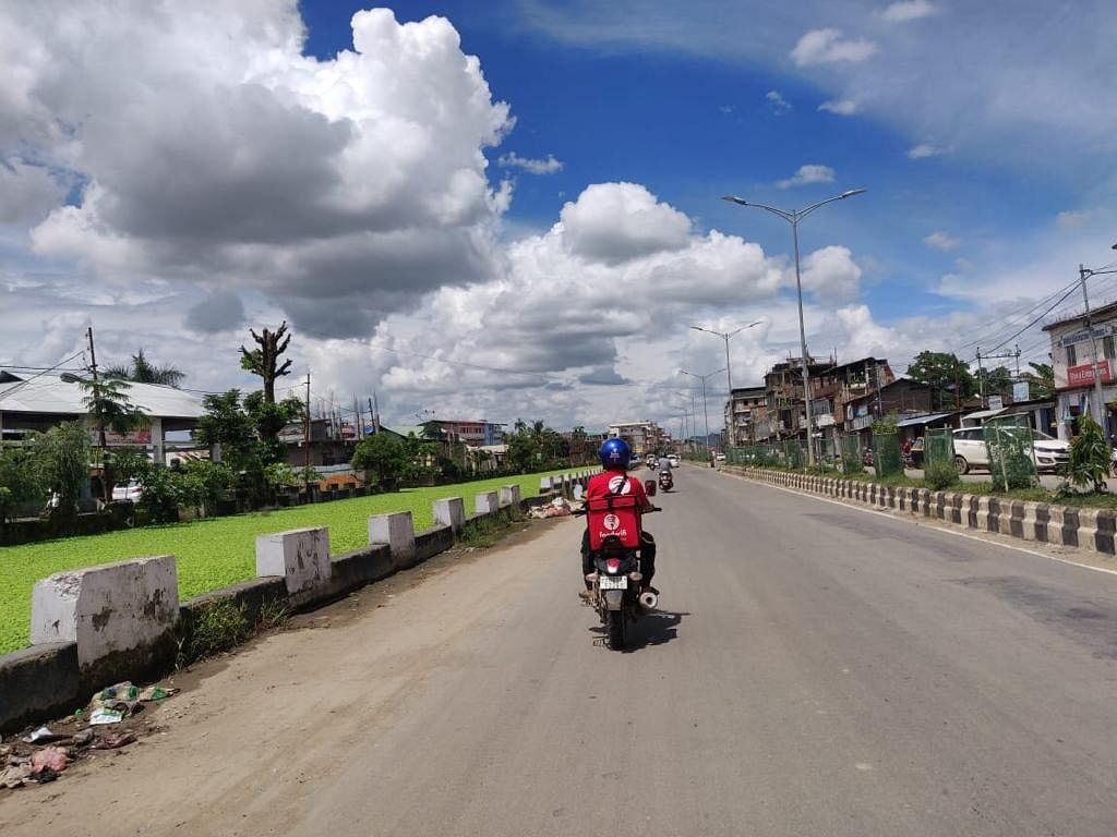 Foodwifi staff on the go for delivery service in Imphal