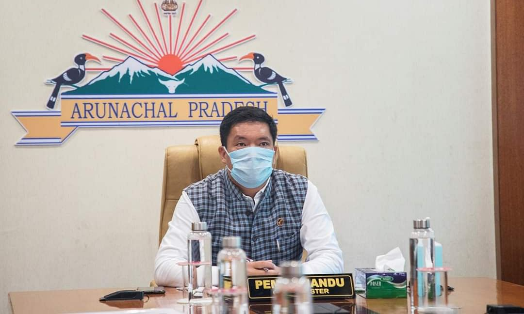 CM Pena Khandu on a video conferencing with Union minister Prakash Javadekar