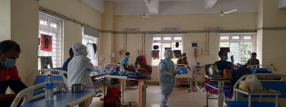 Healthcare professionals at one of the wards in STNM Hospital in Gangtok