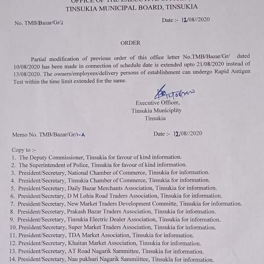 Modified order by Tinsukia Municipal Board