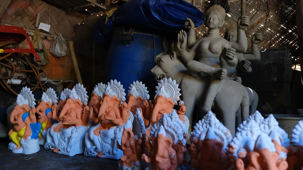 These idol makers are also dependent on Puja committee members for money as it's from this money that the idol makers buy the raw materials and can employ other skilled laborers under them
